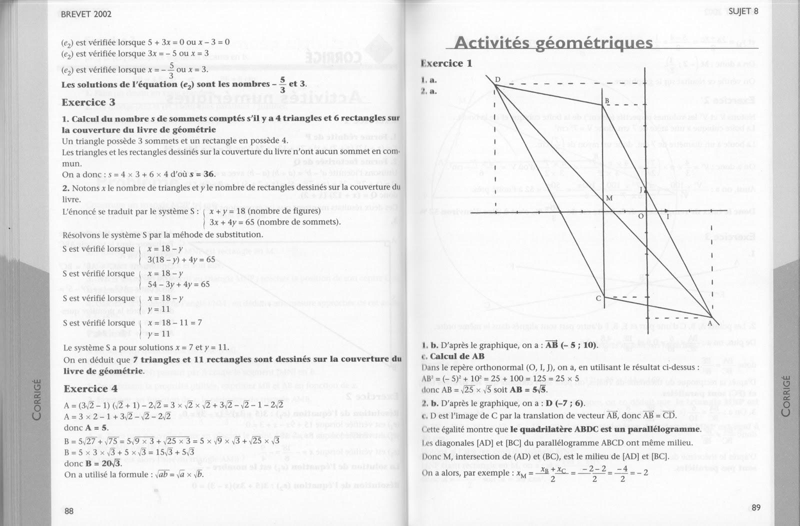 bac 2002 mathematiques sujets non corriges