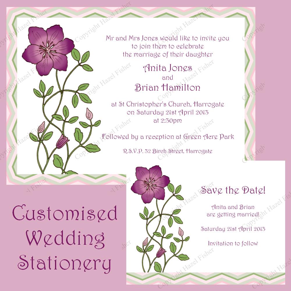 Hazel Fisher Creations: New Clematis Wedding Stationery set