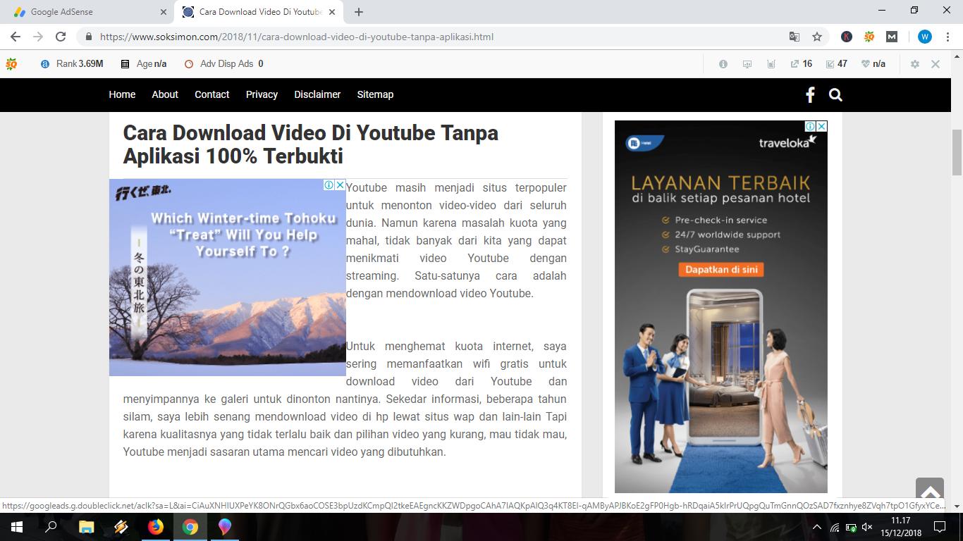 contoh tampilan iklan adsense di blog