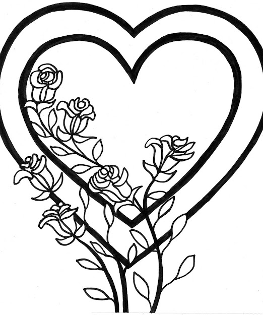 Coloring Pages Of Hearts And Roses