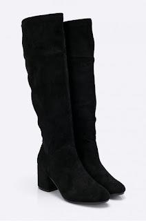 Cizme negre elegante de iarna cu toc mediu gros din piele eco intoarsa
