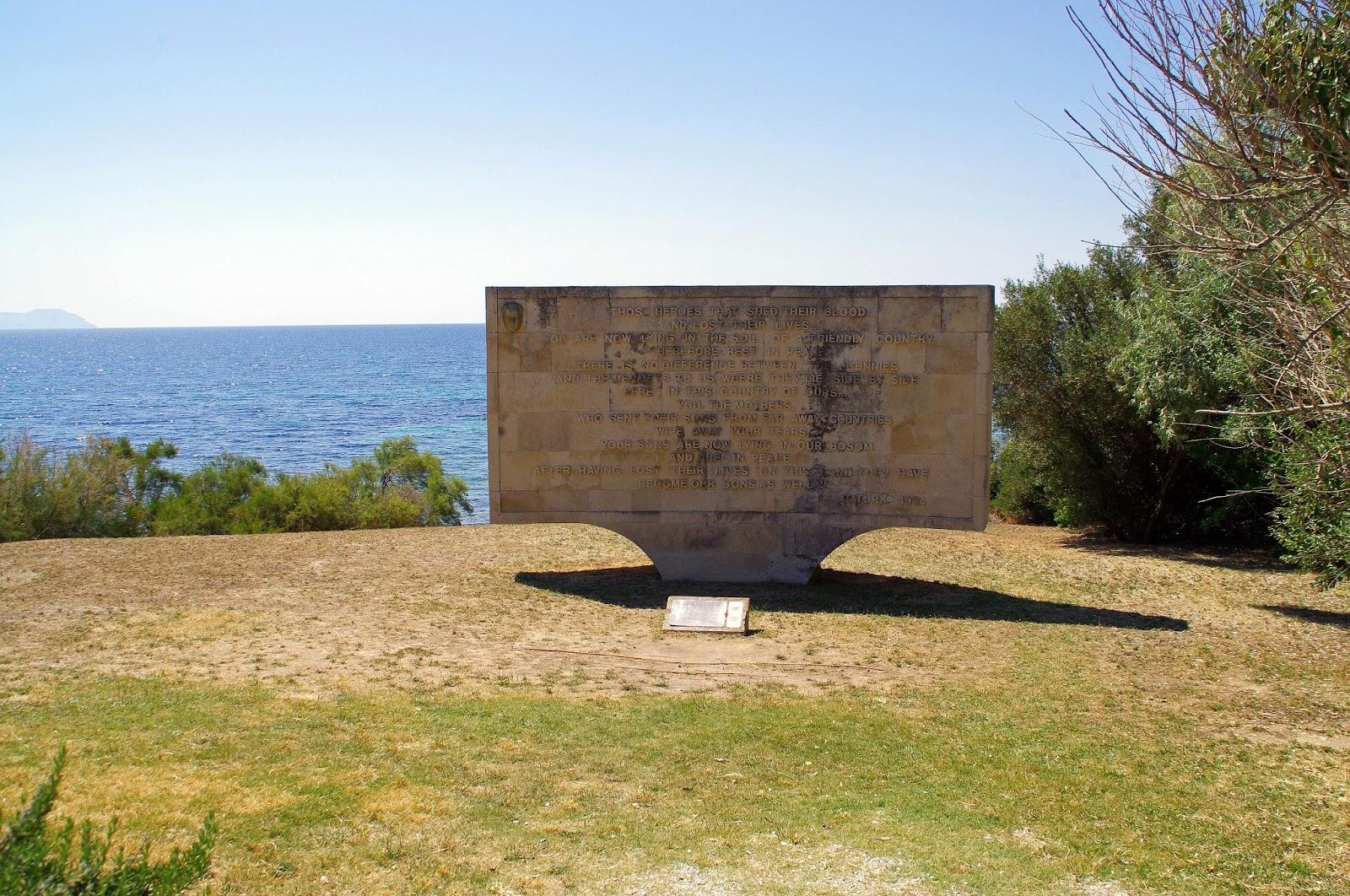 Ataturk Quote Memorial at Gallipoli