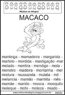 Fichas de leitura - letra M