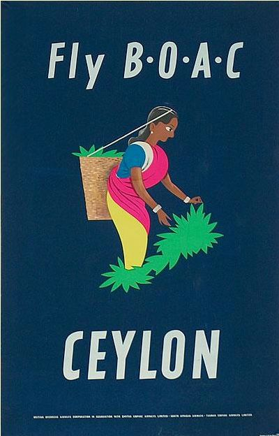 FLY B.O.A.C - Ceylon Vintage Travel Poster