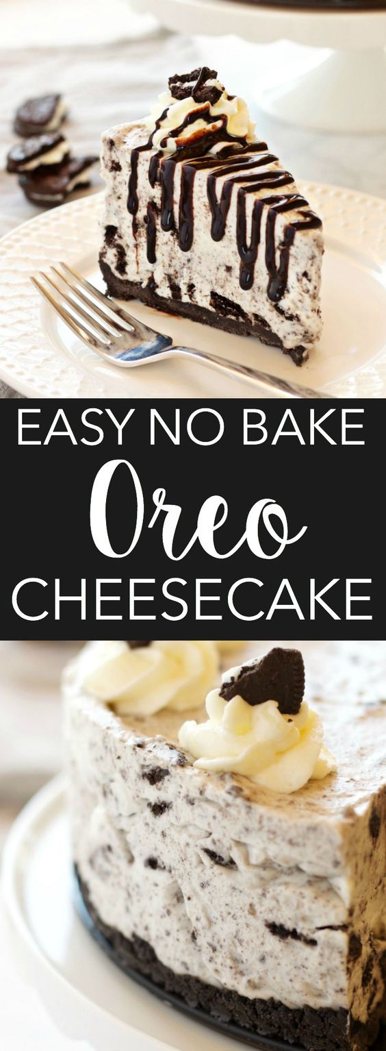 EASY NO BAKE OREO CHEESECAKE #nobake #oreo #cheese #cheesecake #dessert #dessertrecipes #easydessertrecipes