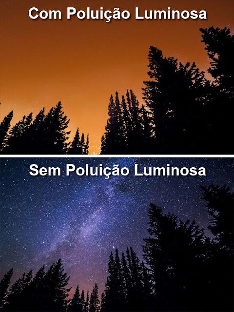 Com e sem poluição luminosa - comparação
