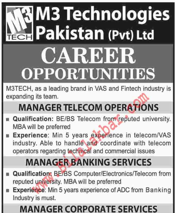 M3 Technologies Pakistan (Pvt) Ltd CAREER OPPORTUNITIES Last Date 31 Dec 2018