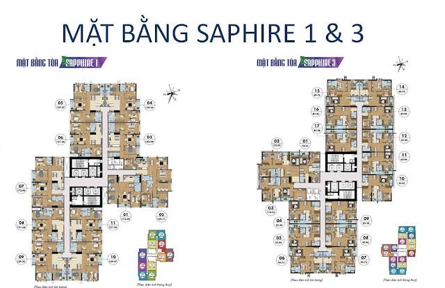 Mặt bằng và diện tích các căn hộ tòa Sapphire 1 và 3