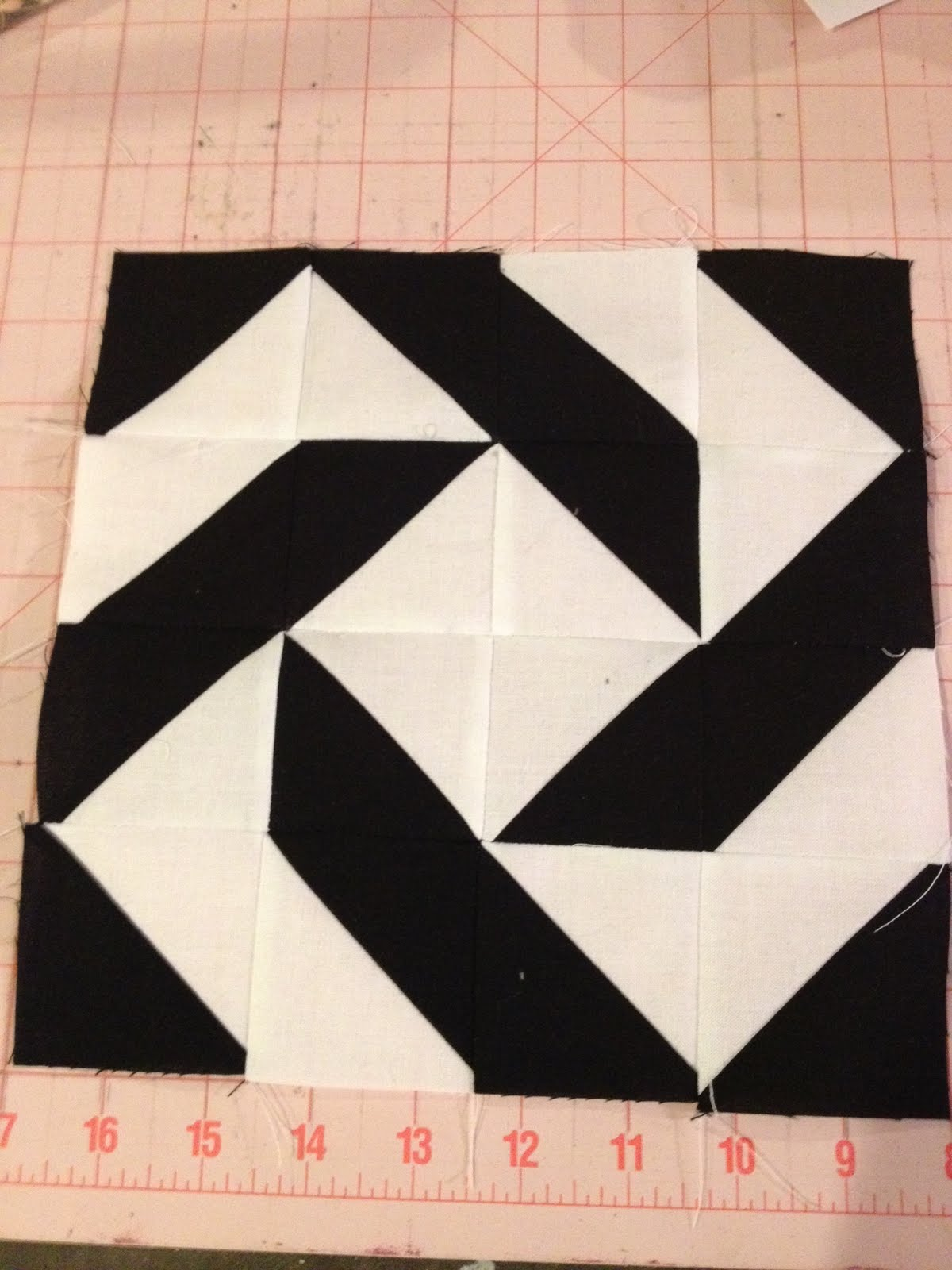 Knit N Lit Modern Half Square Triangle Quilt A Long Block 10