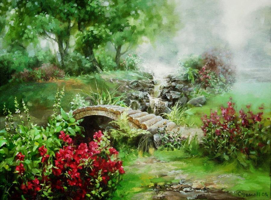 Im genes arte pinturas paisajes de jardines con neblina - Oleos de jardines ...