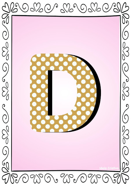 Alfabeto Poá Colorido com Borda Letra D