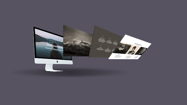 Perspective iMac Screen Mockup Free PowerPoint Template Slide 1
