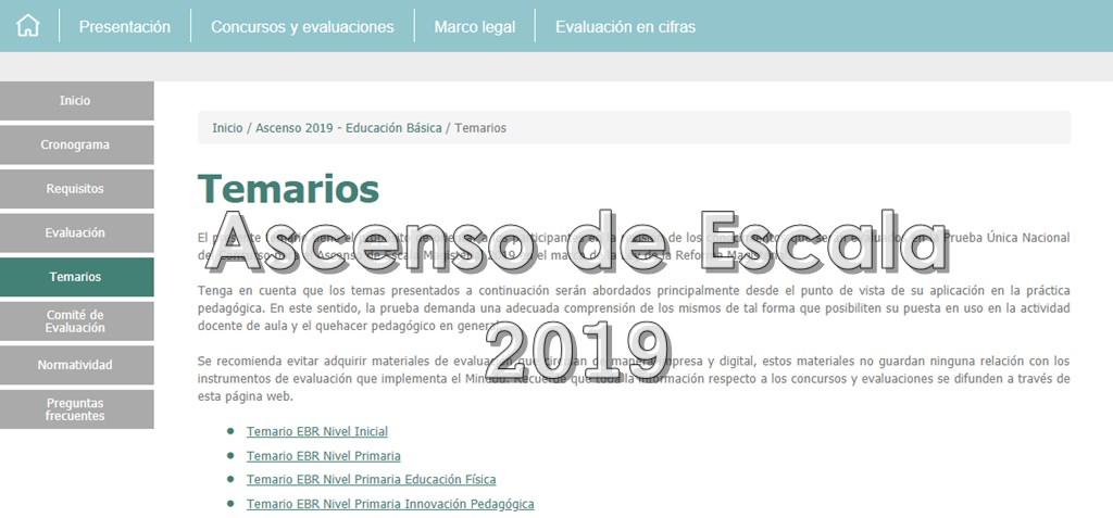 Temario para Ascenso de Escala 2019