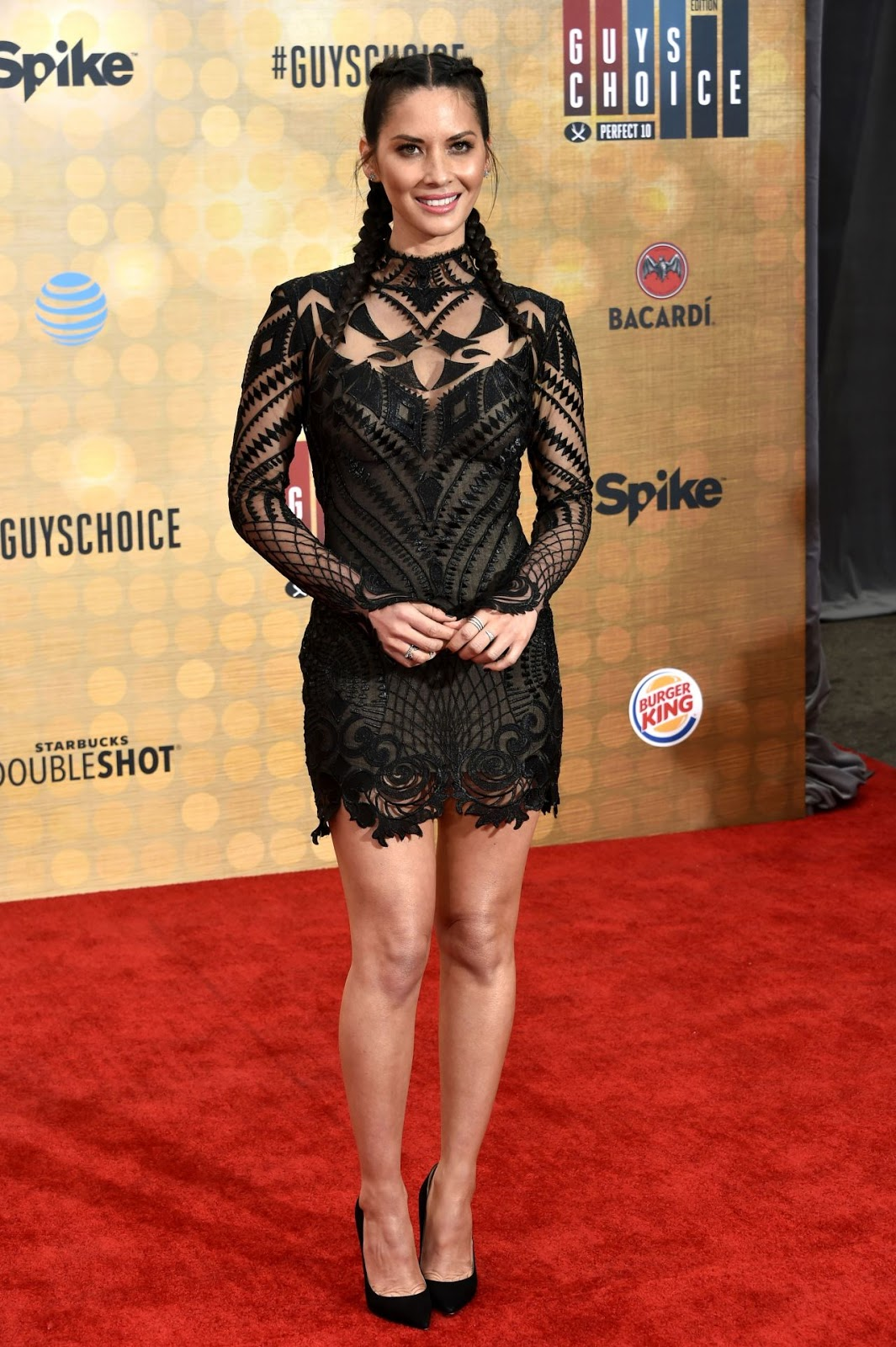 Olivia Munn is chic in a lace overlay minidress at the Guys Choice Awards