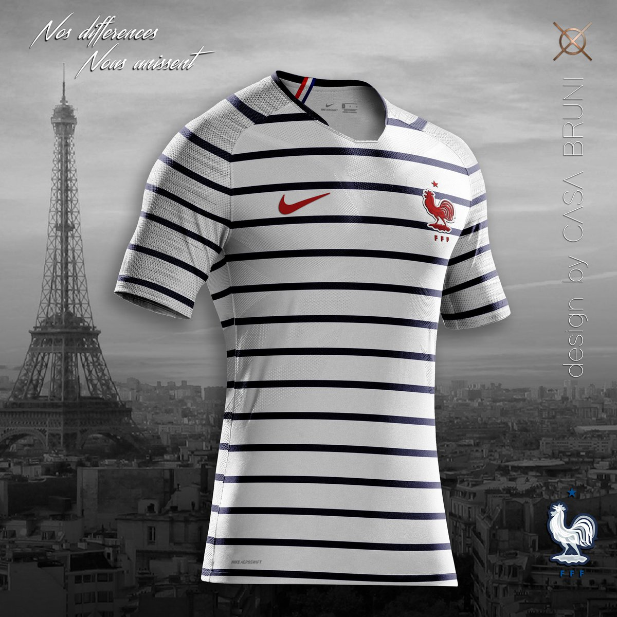 3ce597930 Casa Bruni created this concept inspired by new France Pre-match kit.  Combining with Nike's Aeroswift technology, this concept looks really good.