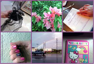 6 images in a basic collage. A fascinator with decorative spiders, pink flowers, hand resting on a book, painted nails, a rainbow over a busy road, and a hello kitty notebook.