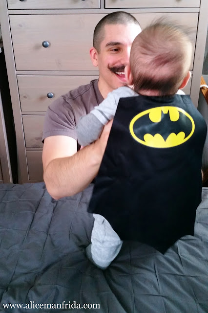 father and son, dad, baby, boy, Batman, cape, Halloween, costume