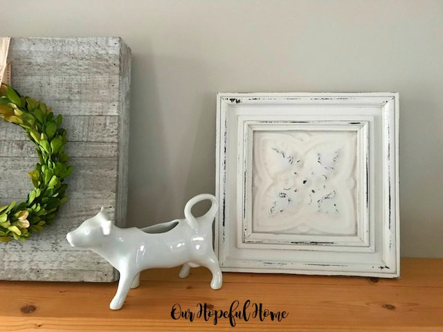 cow cremer pitcher boxwood wreath tin ceiling tile