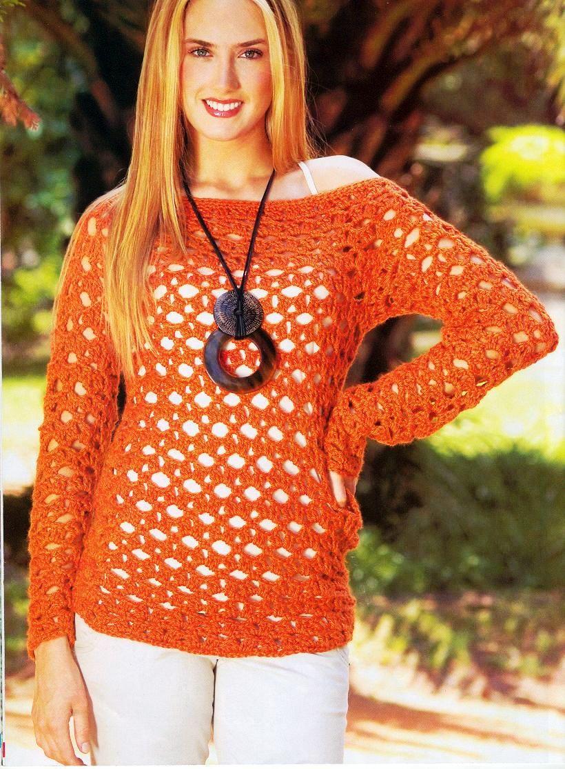 Jersey de Crochet Naranja Manga Larga