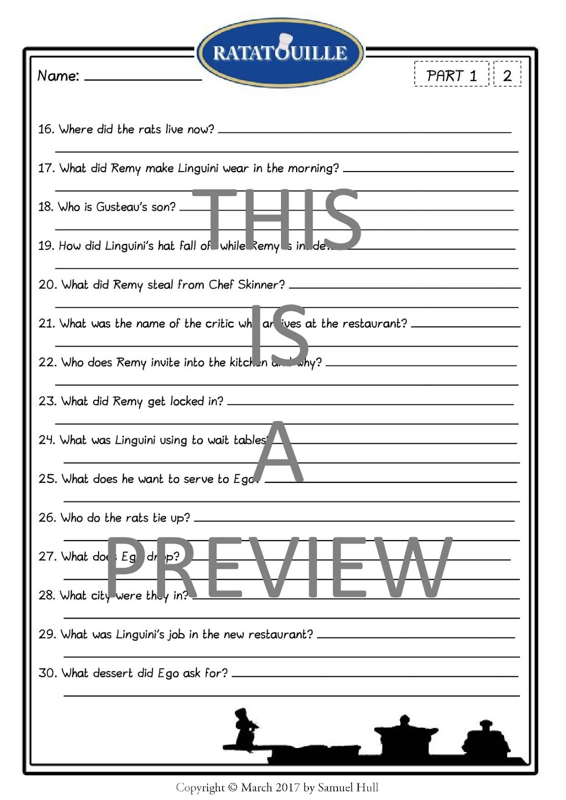 Teacherspayteachers Product Disneys Ratatouille 2007 Movie Questions Extras 3132478