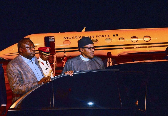 See Photos Of Buhari as he arrives Nigeria after US trip