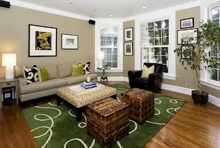 Sala en gris y verde