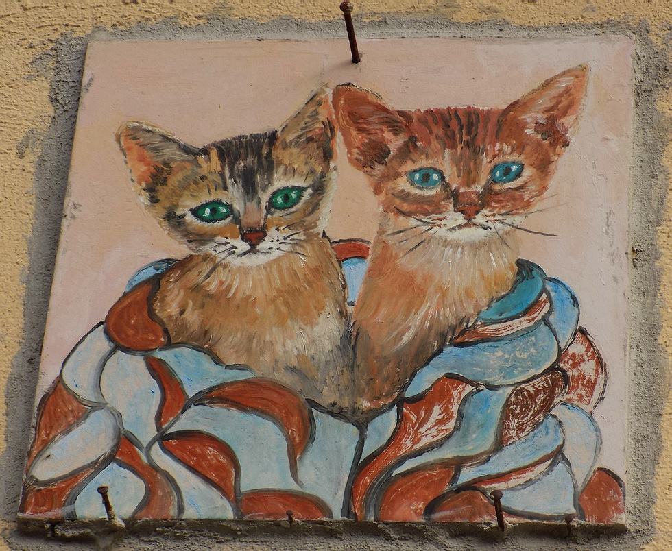Stampa di arte popolare del gatto piastrelle ceramiche da etsy