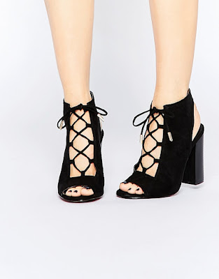 Vela lace up block heeled sandals, $51.76 from Truffle Collection
