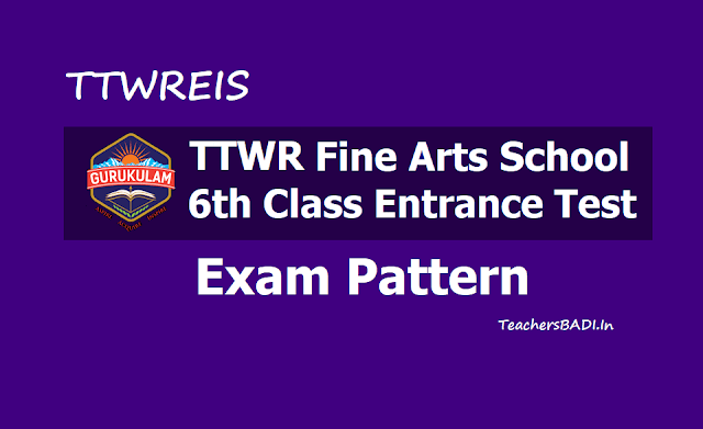 TTWR Fine Arts School 6th Class Entrance Exam Pattern 2019 for Written Exam, Skill Test