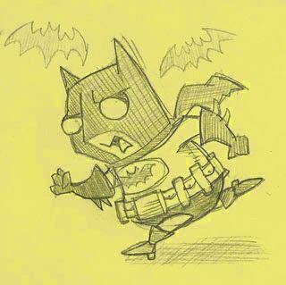 Arrrggghhh Another At Blog Doodle Lil Batman On Yellow Sticky