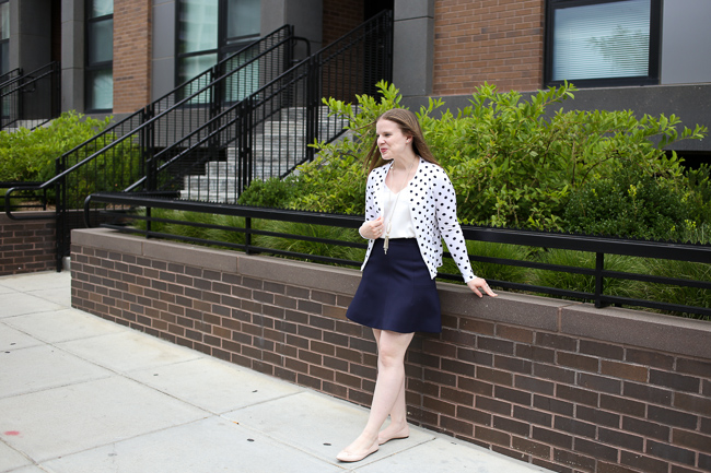 The Polka Dot Cardigan | Something Good, J.Crew Flare Skirt