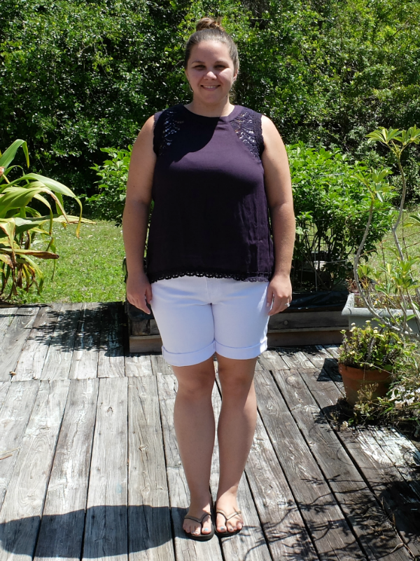 Sweet Turtle Soup - Stitch Fix Review #1 :: Ivette Crochet Detail Top by Crescent and Mona Boyfriend Denim Short by Kut From The Kloth