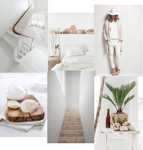 A fresh and silent white mood board from http://www.unduetre-ilaria.com