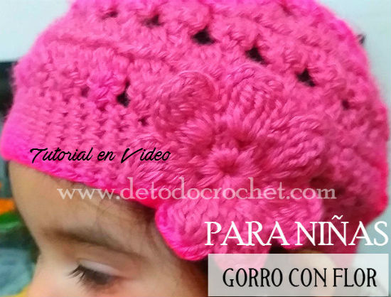 Gorro Crochet con Flor Para Niñas   Tutorial en video 1154febc302