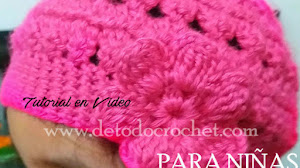 Gorro Crochet con Flor Para Niñas / Tutorial en video