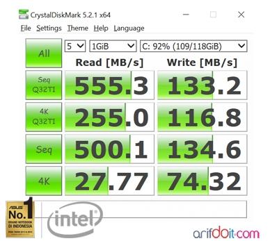 Hasil benchmark M2 SSD pada Asus Zenbook UX410UQ