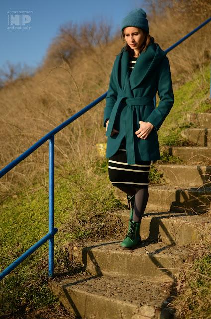 Palton verde iarna