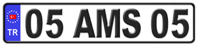Amasya il isminin kısaltma harflerinden oluşan 05 AMS 05 kodlu Amasya plaka örneği