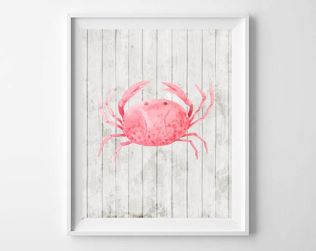 Beach Theme Free Printbles Watercolor Crab