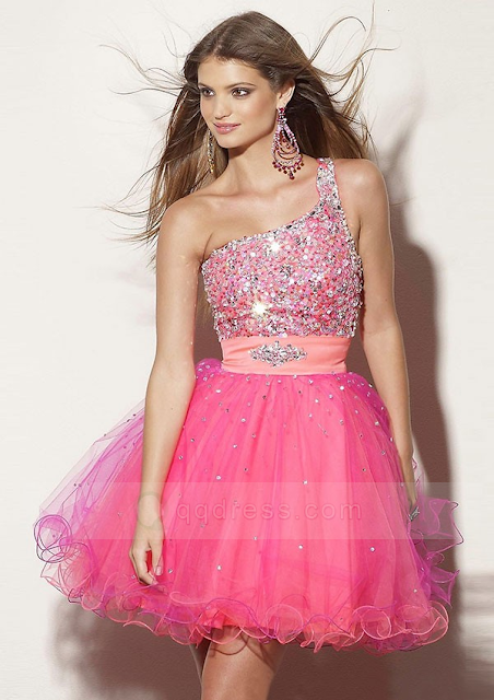 A-line One-shoulder Beaded Bodice Ruffles Mini Tulle Cocktail Gowns