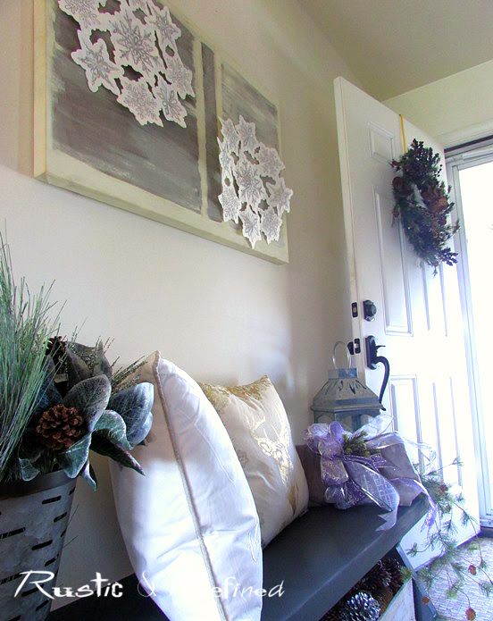 Entry decorated for Christmas