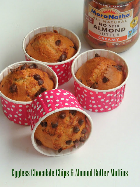 Eggless Chocolate chips & Almond Butter Muffins