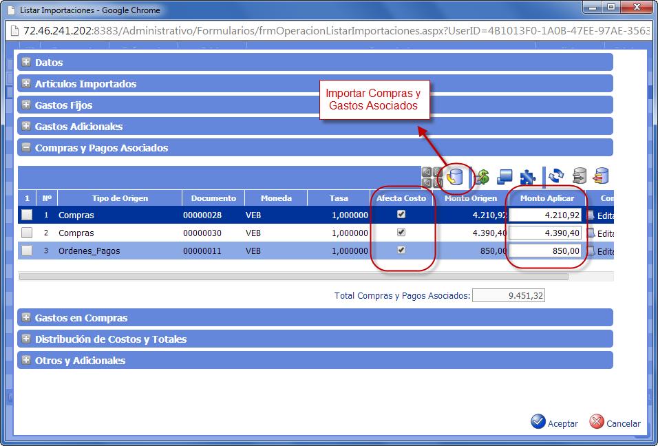 Compras y Pagos Asociados - Gastos de Importación de eFactory ERP/CRM