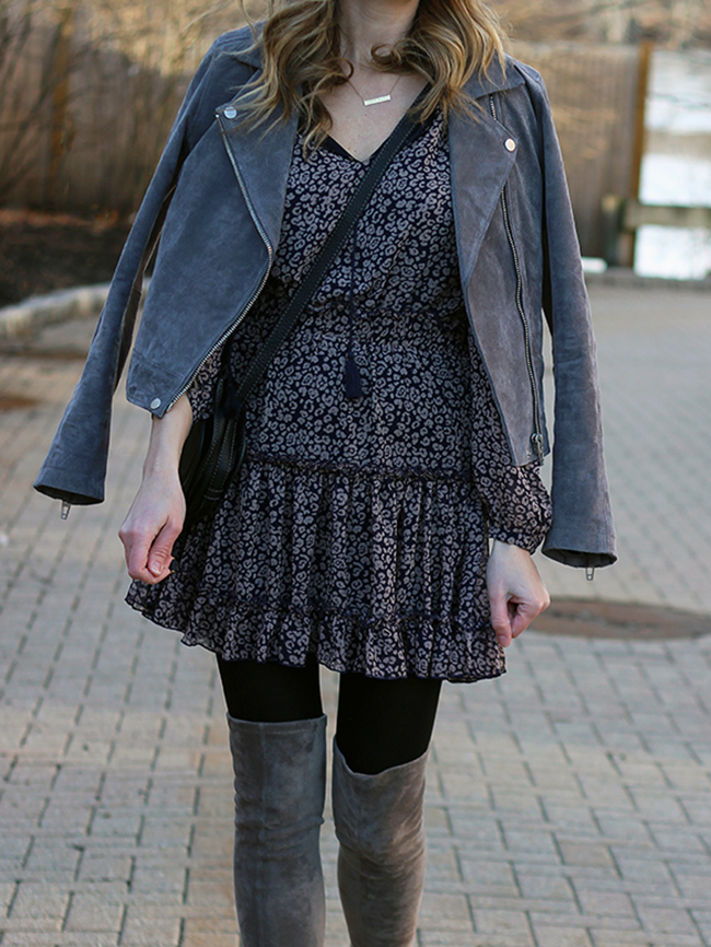 Winter dress with leggings #ruffledress #otkboots