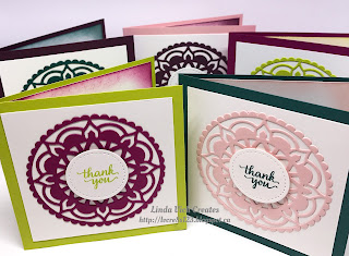Linda Vich Creates: 2017 Catalog Launch Prep Part 1: Third Prize. Box of five note cards using the 2017-2019 In Colors and Eastern Palace Suite.