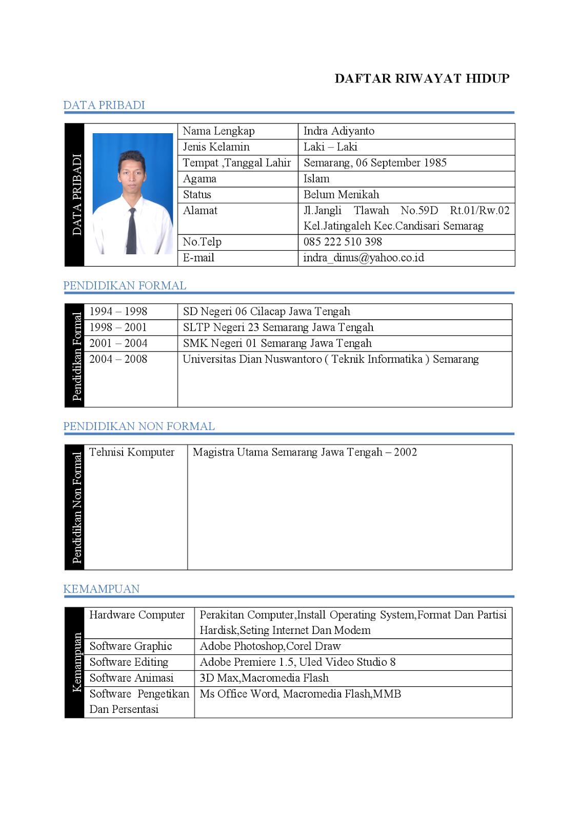 Format Biodata Lamaran Kerja Free Document Resume Samples