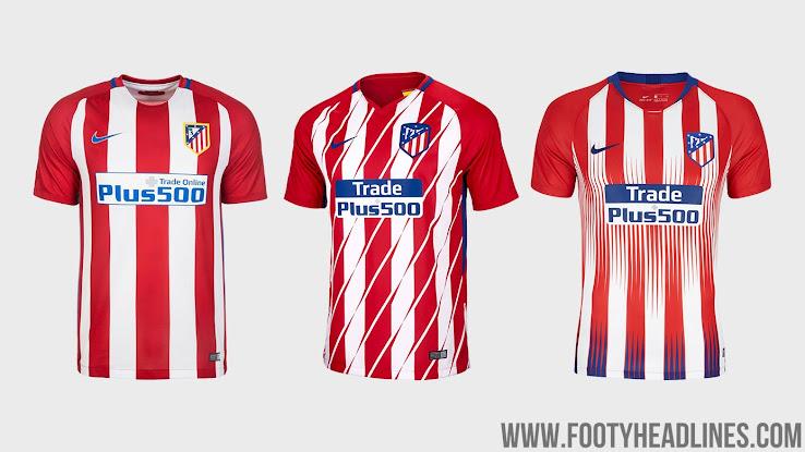 56dbea54da6b7 Las tres últimas camisetas del Atlético (Imagen: FootyHeadlines).