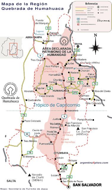 Mapa de la region de la quebrada de Humahuaca. Viajando por Argentina