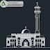 مخطط مشروع مسجد mosque صغير بتصميم جميل اوتوكاد dwg