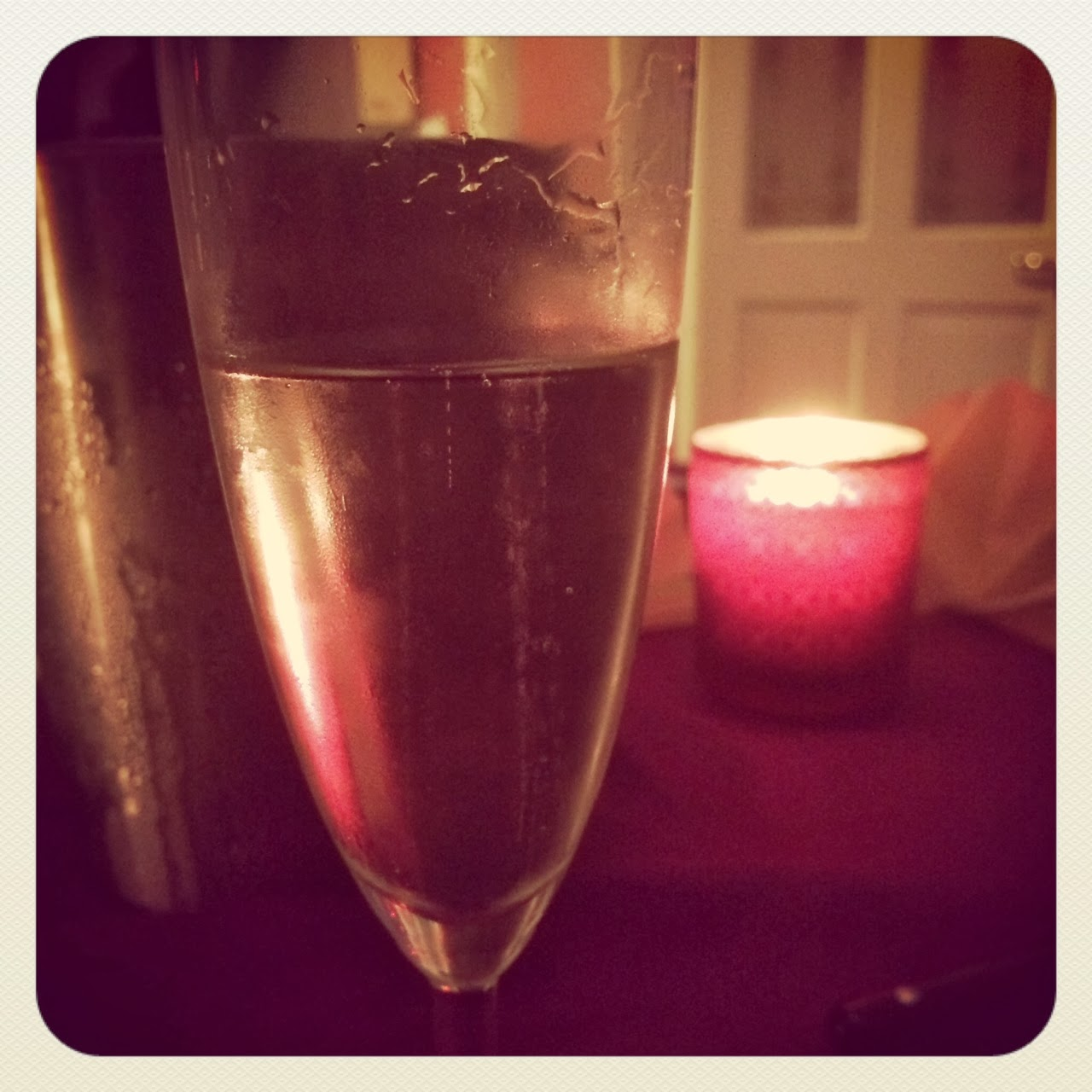 champagne and candle